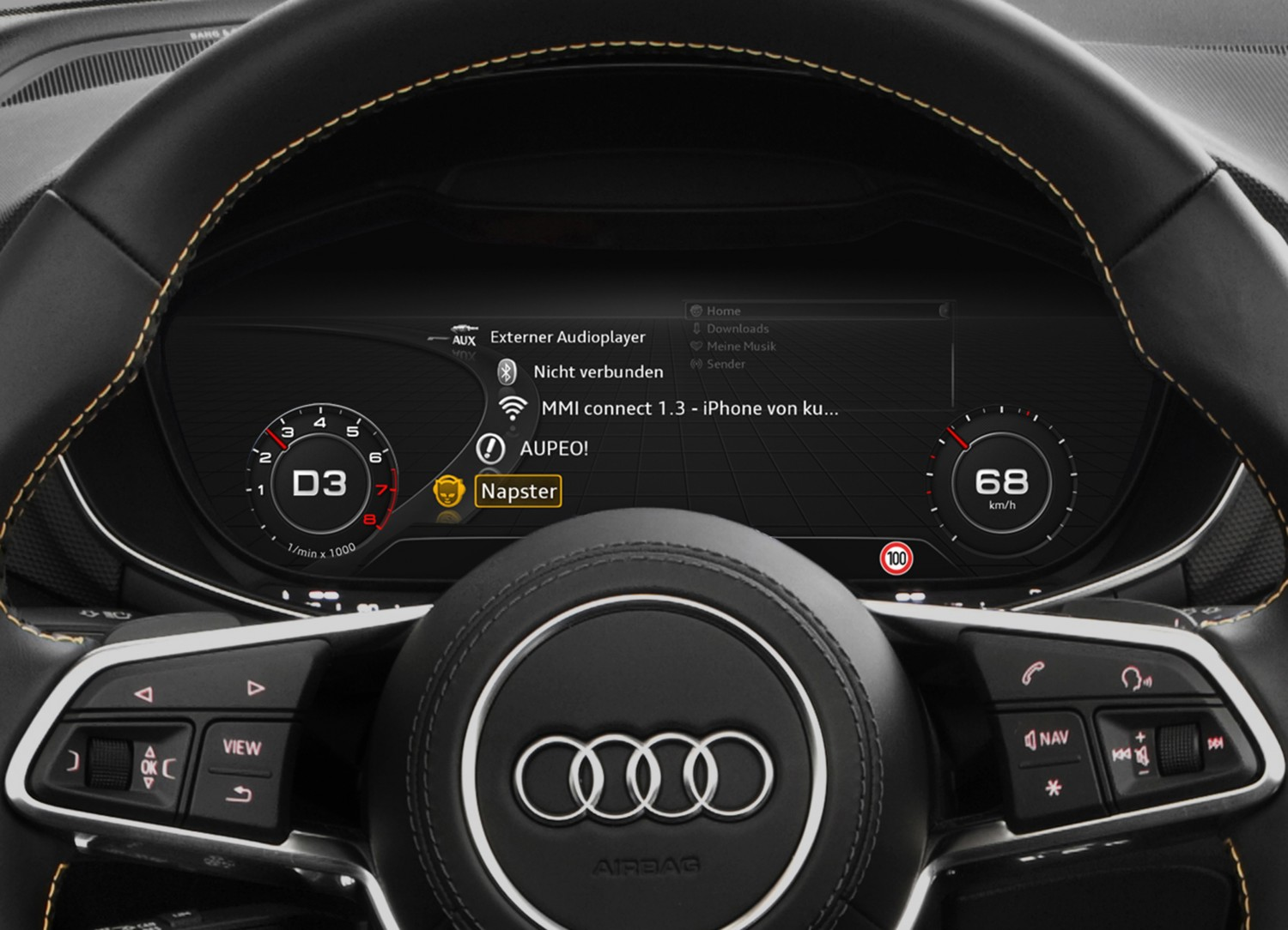 "Car-Media ""Napster"" und ""Aupeo!"" bei Tempo 200 - Audi holt Streaming-Dienste ins Cockpit - News, Bild 1"