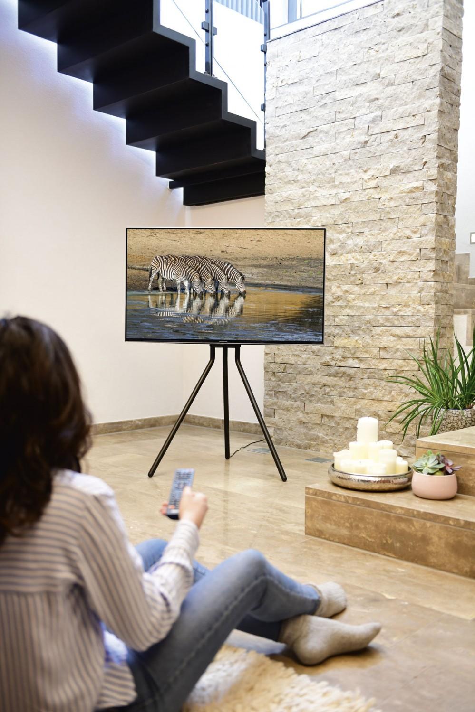 TV Hama mit TV-Bodenständer im Staffelei-Design für 37- bis 75-Zöller - News, Bild 1