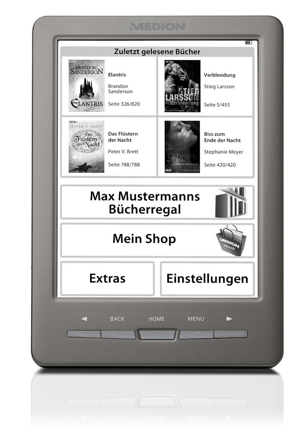 mobile Devices Neuer Medion eBook Reader ermöglicht kabellose eBook-Downloads  - News, Bild 1