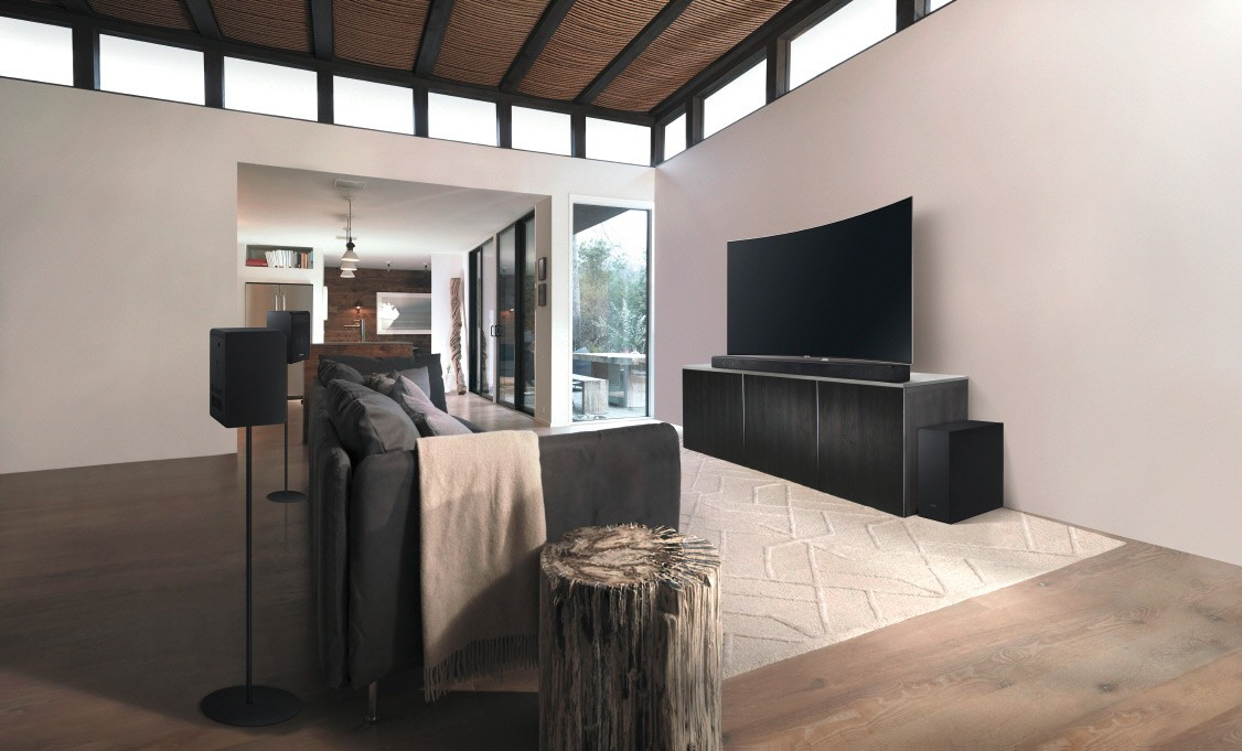 soundsystem von samsung mit dolby atmos feiert premiere soundbar subwoofer und boxen. Black Bedroom Furniture Sets. Home Design Ideas