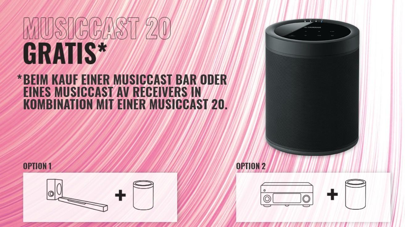 Heimkino Yamaha MusicCast Aktion bis 15. Juli: Kostenlosen Streaming-Speaker MusicCast 20 bei Bundle-Kauf sichern - News, Bild 1