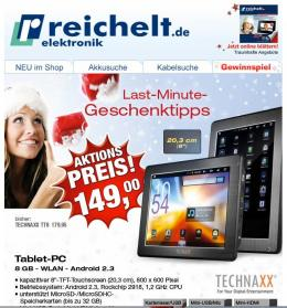 mobile Devices Last-Minute-Geschenkideen: Tablet-PC nur 149,00 Euro - News, Bild 1