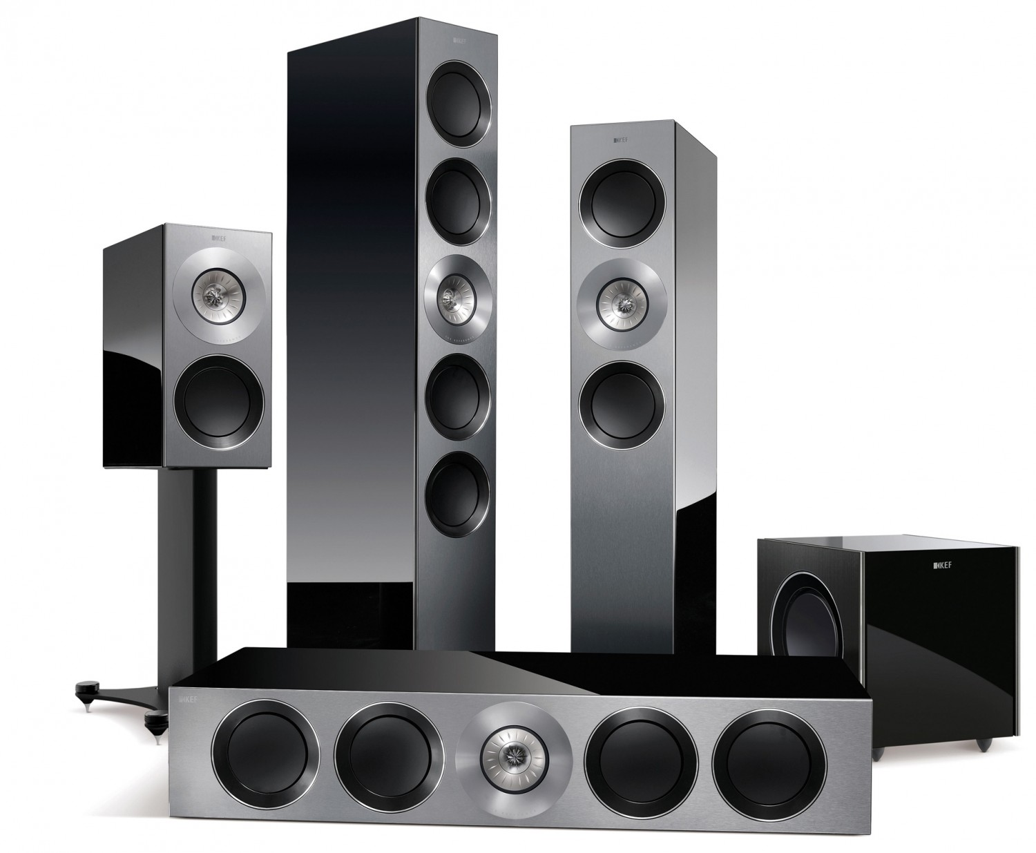 test lautsprecher surround kef reference 5 1 set sehr. Black Bedroom Furniture Sets. Home Design Ideas